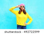 fashion pretty cool girl in... | Shutterstock . vector #492722599