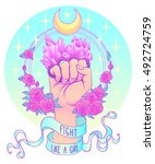 fight like a girl. woman's hand ... | Shutterstock .eps vector #492724759