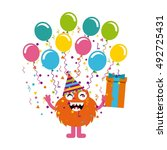 monster characters in birthday... | Shutterstock .eps vector #492725431