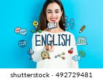 english concept with young... | Shutterstock . vector #492729481