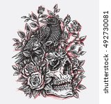 sketchy crow  roses and skull... | Shutterstock .eps vector #492730081