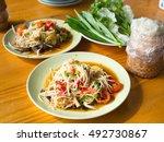famous thai food  papaya salad... | Shutterstock . vector #492730867