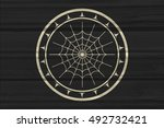 stamp with spider web and... | Shutterstock . vector #492732421