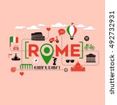rome italy icons and typography ... | Shutterstock .eps vector #492732931