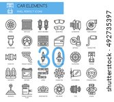 car elements   thin line and... | Shutterstock .eps vector #492735397