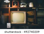 retro television in cover wood...   Shutterstock . vector #492740209