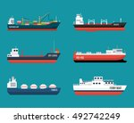 set of ships in modern flat... | Shutterstock .eps vector #492742249