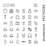set of clothing icons in modern ... | Shutterstock .eps vector #492742285