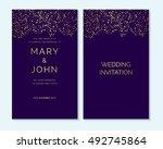 gold confetti on purple...   Shutterstock .eps vector #492745864