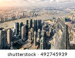 aerial view of lujiazui... | Shutterstock . vector #492745939
