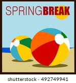 spring break design with beach... | Shutterstock .eps vector #492749941