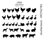 Stock vector farm animals silhouettes collection isolated on white vector 492762781