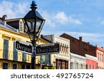 street signs and architecture...   Shutterstock . vector #492765724