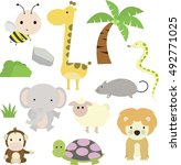 jungle animals series 1 | Shutterstock .eps vector #492771025
