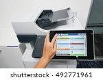 woman use touch screen of... | Shutterstock . vector #492771961