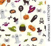happy halloween seamless... | Shutterstock .eps vector #492774709