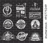 set of stand up comedy show... | Shutterstock .eps vector #492775249