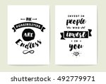 set of 2 cards or posters with... | Shutterstock .eps vector #492779971
