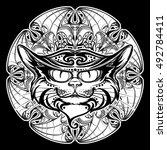 halloween illustration with... | Shutterstock .eps vector #492784411