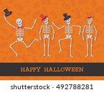 happy halloween poster. cartoon ...   Shutterstock .eps vector #492788281