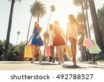 rich girls made shopping in... | Shutterstock . vector #492788527