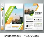 Brochure design template vector. Flyers report business magazine poster. Green and orange abstract square in minimal cover book portfolio presentation. City concept in A4 layout. | Shutterstock vector #492790351