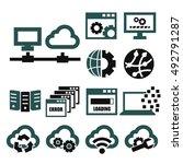 network  server icon set | Shutterstock .eps vector #492791287