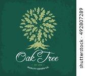oak tree handmade shabby logo... | Shutterstock .eps vector #492807289