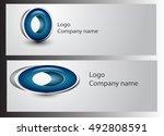 abstract 3d geometric  logo | Shutterstock .eps vector #492808591
