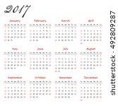 calendar 2017   Shutterstock .eps vector #492809287