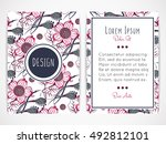 cover design with floral... | Shutterstock .eps vector #492812101
