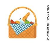 wicker picnic basket vector... | Shutterstock .eps vector #492817801