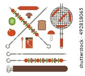 vegetarian picnic and barbeque... | Shutterstock .eps vector #492818065