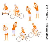 elderly people doing exercises... | Shutterstock . vector #492822115