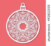 christmas ball with snowflake.... | Shutterstock .eps vector #492822535