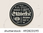 coaster for beer with hand... | Shutterstock . vector #492823195