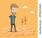 a hipster man with the beard... | Shutterstock .eps vector #492823465