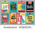 set of social media sale... | Shutterstock .eps vector #492825241