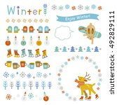 winter frames and decorations | Shutterstock .eps vector #492829111