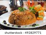 lamb madghout  popular arabic...   Shutterstock . vector #492829771