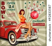 bowling vintage poster with pin ... | Shutterstock .eps vector #492833587