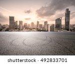 empty floor with modern skyline ... | Shutterstock . vector #492833701