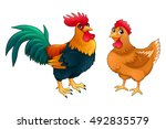 funny couple of rooster and hen....