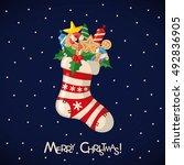 christmas greeting card with... | Shutterstock .eps vector #492836905