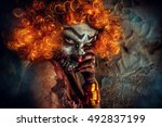 portrait of a terrible bloody... | Shutterstock . vector #492837199