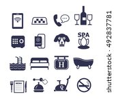 set of vector icons for hotel... | Shutterstock .eps vector #492837781