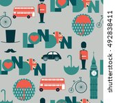 grey cartoon british  pattern | Shutterstock .eps vector #492838411