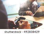medical technology network team ...   Shutterstock . vector #492838429