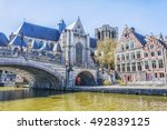 medieval cathedral and bridge... | Shutterstock . vector #492839125