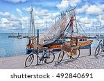 fishing trawler with nets on... | Shutterstock . vector #492840691